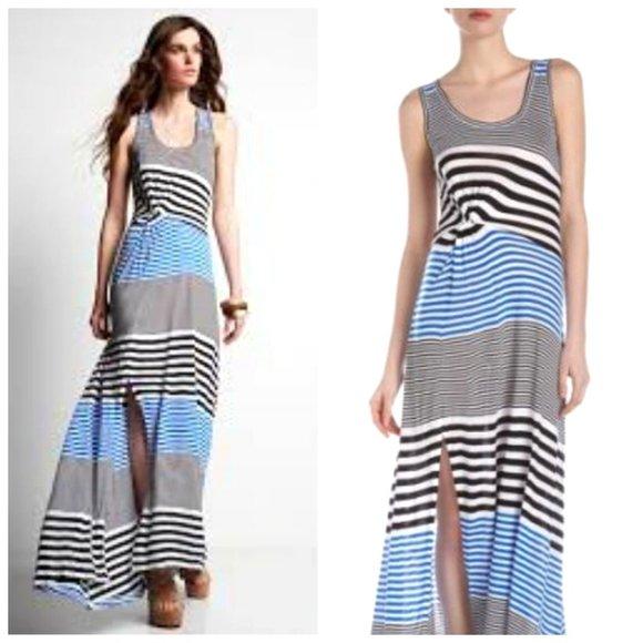BCBG 100% Rayon Striped Ruched Maxi Dress